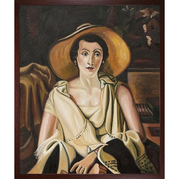 Andre Derain 'Portrait de Mme Paul Guillaume' Hand Painted Framed Canvas Art