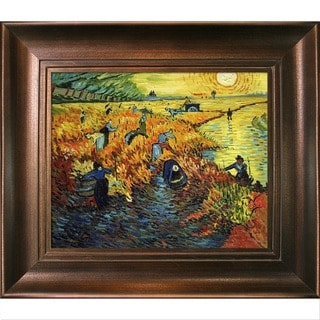 Vincent Van Gogh 'Red Vineyards at Arles' Hand Painted Framed Canvas Art