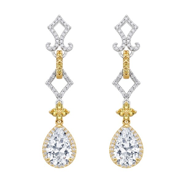 18k Two-tone Gold 3/5ct TDW Yellow Sapphire Semi Mount Diamond Earrings (G-H, SI)