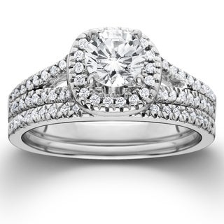 14k White Gold 1 ct TDW Diamond Halo Engagement Wedding Ring Set (I-J, I2-I3)