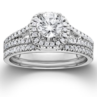 14k White Gold 1 1/10 ct TDW Diamond Halo Engagement Wedding Ring Set (I-J, I2-I3)