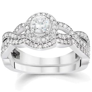 14k White Gold 1 1/4 ct TDW Diamond Double Halo Wedding Ring Set (I-J, I2-I3)