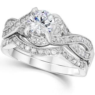 14k White Gold 1 1/2 ct TDW Diamond Engagement Wedding Ring Set (I-J, I2-I3)