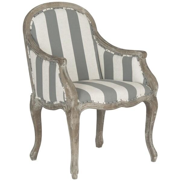 Safavieh Esther Grey/ Off-White Stripe Arm Chair