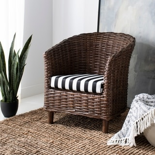 Safavieh Omni Brown/ Black / White Stripe Barrel Chair