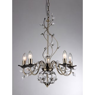 Charlotte 5-light Bronze 20-inch Crystal Branches Chandelier