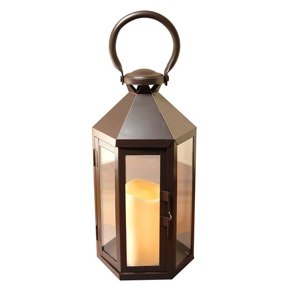 Metal Lantern with LED Candle Warm Black Hexagon