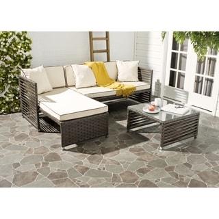 Safavieh Likoma Brown Rattan Beige Cushion/ Pillow Brown Piping Wicker 3-piece Outdoor Set