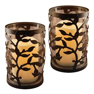 Round Warm Black Vine Metal Lanterns (Set of 2)