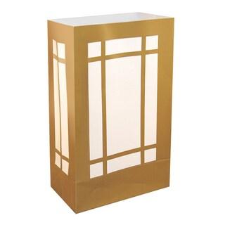 Plastic Luminaria Bags Gold Lantern (12 Count)