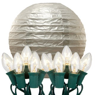 Electric String Lights with Paper Lanterns Silver Set of 10)