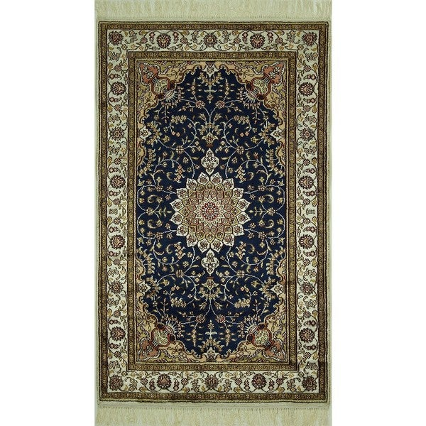 Handmade Authentic Pure Silk Navy Blue Floral Kashan Area Rug (3' x 5')