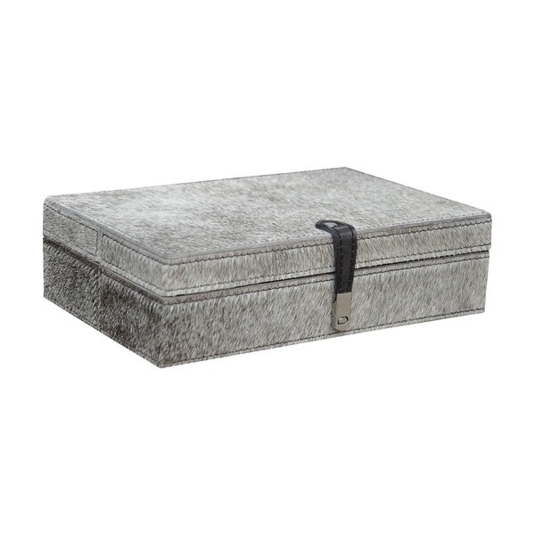 Dimond Home Large Grey Hair on Leather Box 15945037