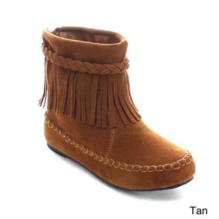 Betani Denise-2 Girls' Boho Fringe Back Zip Braided Strap Mocassin Ankle Booties