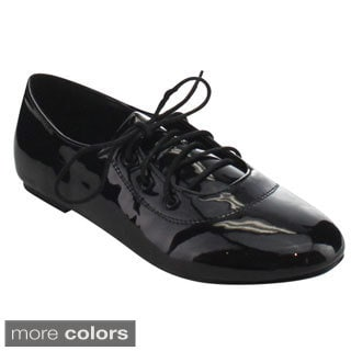 Machi Boli Women's Patent Upper Lace Up Low Flat Heel Dress Oxfords
