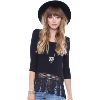 Beston Juniors' Black Fringe 3/4 Sleeve Top