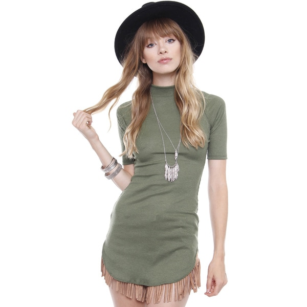 Beston Juniors' Forest Green Olive Turtle Neck Tunic Top