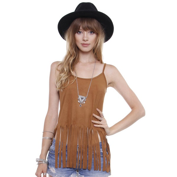 Beston Juniors' Southwestern Faux Suede Fringe Cami Top