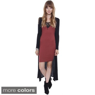Junior's Bell Sleeve Side Slit Long Cardigan