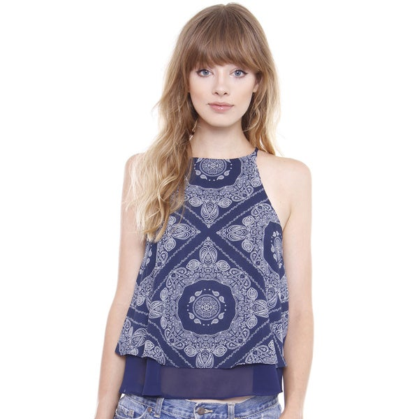 Beston Juniors' Paisley Navy Double Layered Chiffon Halter Blouse