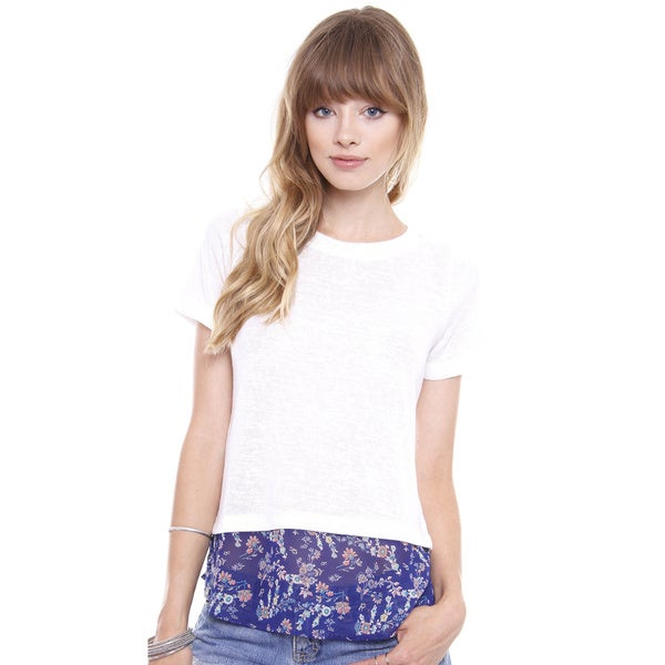 Beston Juniors' White Top With Floral Navy Chiffon