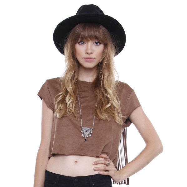 Beston Juniors' Boho Faux Suede Cowgirl Fringe Top