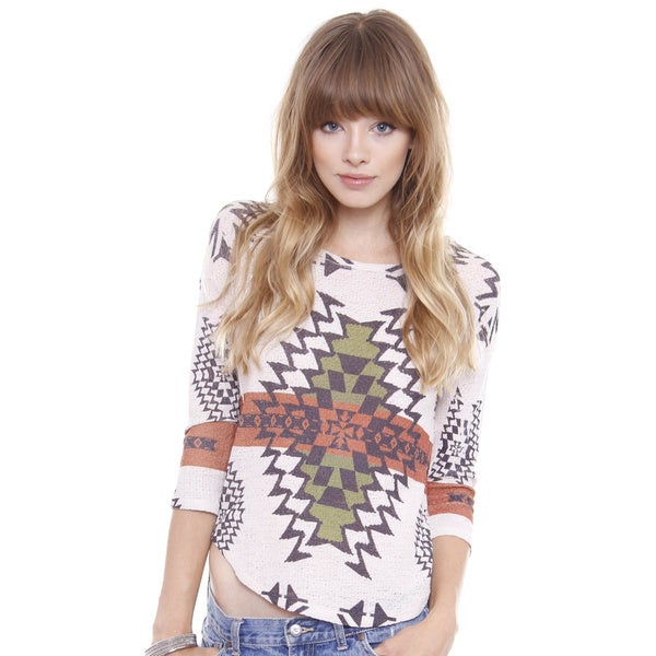 Beston Juniors' Southwestern Boho Print 3/4 Length Sleeve Top