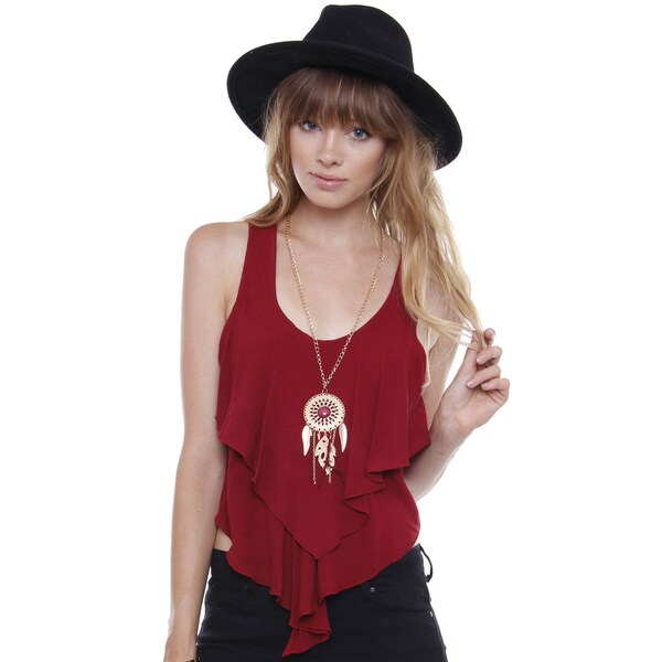 Beston Juniors' Bohemian Layered Burgundy Top With Necklace