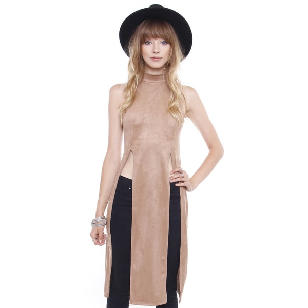 Beston Juniors' Faux Suede Turtle Neck Sleeveless Tunic
