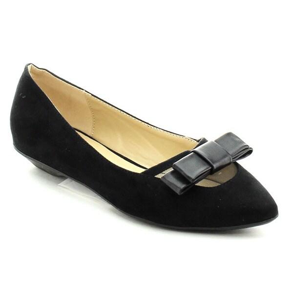 CAPER ROBBIN AVIS-JYX-1 Women's Comfort Basic Bow Detail Slip On Ballet Flats
