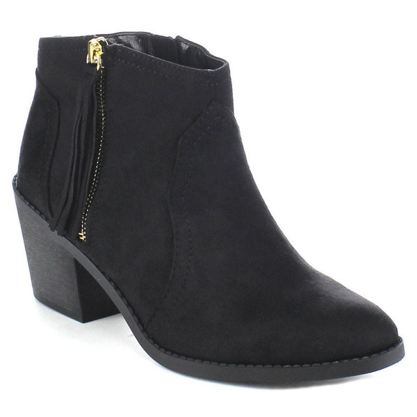 SODA ROWLEY-S Women's Beautiful Tassel Side Zip Chunky Heel Western Ankle Booties