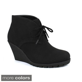 FAHRENHEIT ELSA-01 Women's Stylish Lace Up Wedge Heel Ankle Booties