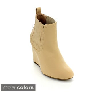 MARK and MADDUX METHUS-03 Women's Basic Comforty Slip On Wedge Ankle Booties