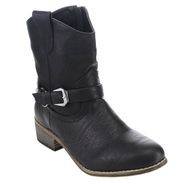 Spirit Moda Doris-2 Women Western Style Buckle Ankle Strap Chunky Ankle Booties