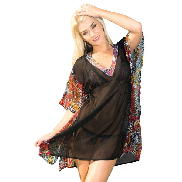 La Leela Women's Black Sheer Chiffon All-over Flower V-neck Cover-up