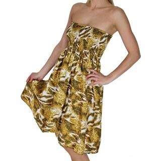 La Leela Women's Brown Animal Skin Backless Halter Tube Dress