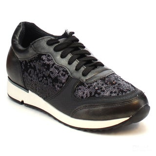 MI.IM JUDE-03 Women's Shine Sequined Lace Up Fashion Running Sneakers