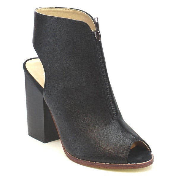 MI.IM NELLY-01 Women's Stylish Peep Open Toe And Back Two Tone Zip Ankle Booties
