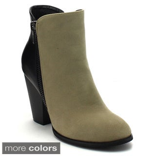 MI.IM SWANKY-02 Women's Side Zipper Chunky Heel Stylish Ankle Booties