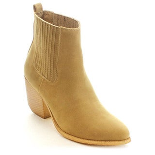 MI.IM TESS-02 Women's Chic Round Toe Elastic Faux Wooden Chunky Booties