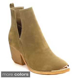 MI.IM TESS-04 Women's Stitching Metal Round Toe V Cut Out Sides Stacked Booties