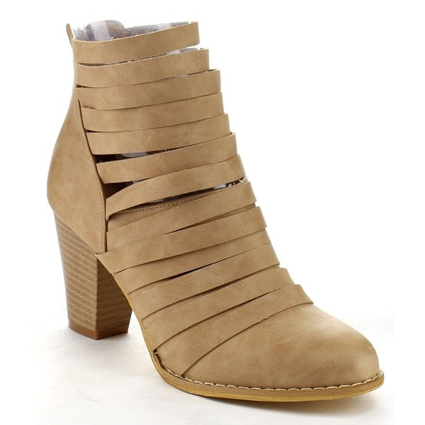 MI.IM URBAN-04 Women's Rear Zipper Cut Out Strappy Stacked Chunky Ankle Booties