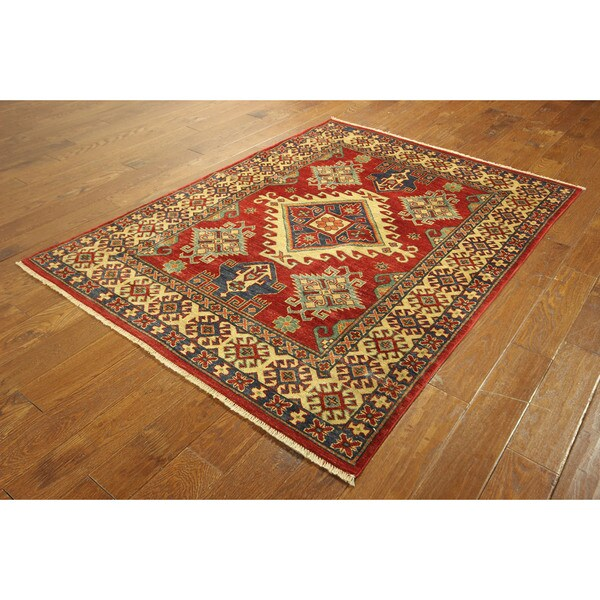 Hand-knotted Rosso Corsa/ Blue Geometric Area Super Kazak Wool Rug (5' x 7')