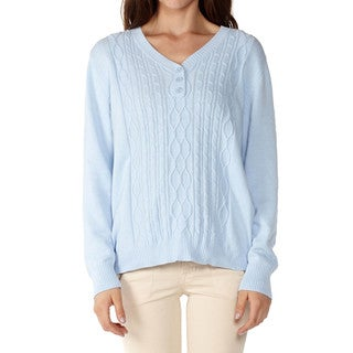 Dinamit Womens Cable Knit V-Neck Sweater