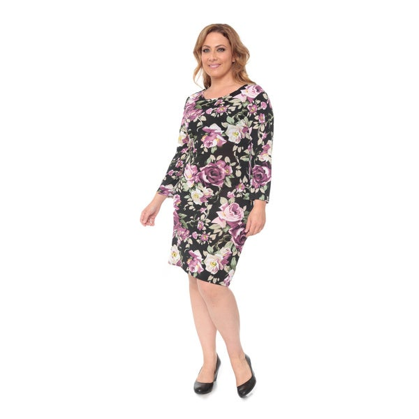 White Mark Women's Plus Floral Printed Long Sleeve Dress
