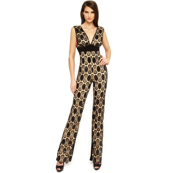 Sentimental NY Women's V-Neck Faux Leather Crochet Jumpsuit