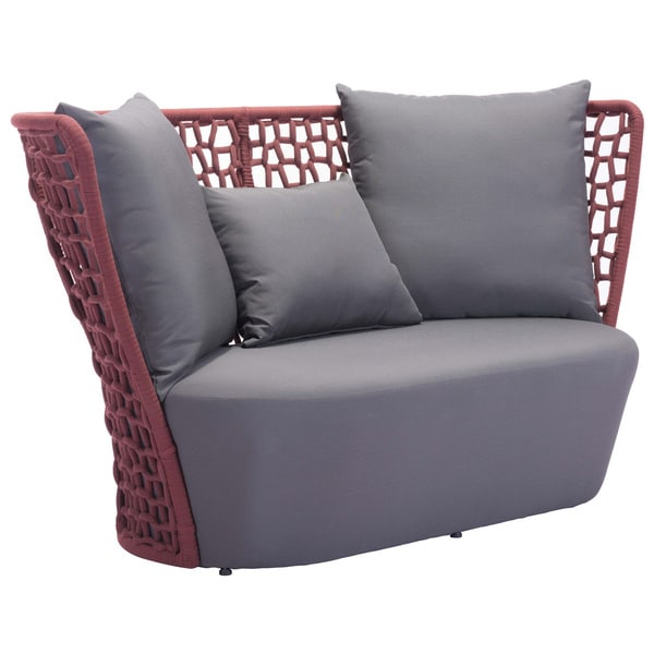 Faye Bay Cranberry and Grey Beach Sofa