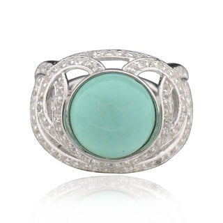 Sterling Silver Round Turquoise Ring (China)