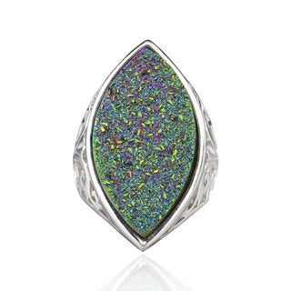 Sterling Silver Marquise Druzy Ring (China)