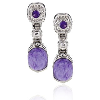 Sterling Silver Oval Charoite and Amethyst Earring (China)